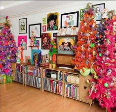 Groovy colorful Christmas tree forest by Jennifer Perkins Christmas Tree Forest, Retro Christmas Tree, Vintage Christmas Ornaments, Modern Christmas, Pink Christmas, Christmas Holidays, Christmas Crafts, Bohemian Christmas, Holiday Tree