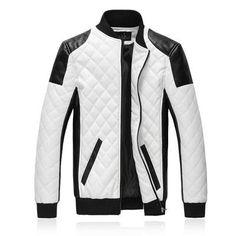 New Brand Slim Men Bomber Jackets Casual Fashion Plaid PU Leather Jacket  Men Jaqueta de couro 7e31c5ecc4