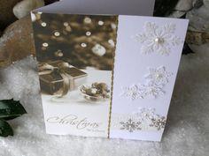 Christmas Present 8 x 6  Christmas Card Brown Gold by 4SeasonCards