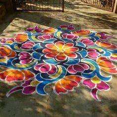 Couleurs Couleurs, Chalk is this type of fun method to be creative! It has a wonderful texture, many colors, and can b, Rangoli Borders, Rangoli Border Designs, Small Rangoli Design, Rangoli Patterns, Colorful Rangoli Designs, Rangoli Ideas, Beautiful Rangoli Designs, Rangoli Designs Latest, Rangoli Designs Diwali