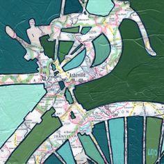 Like it!  RT Bike Asheville no.2-bicycle art print. $17.00, via Etsy #mixedmedia #maps #painting