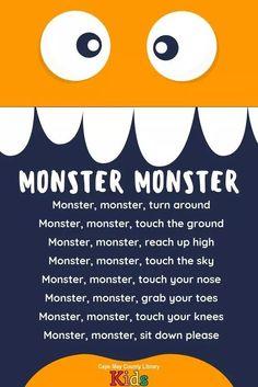 of our favorite storytime rhymes! Perfect for the Halloween season! Kindergarten Songs, Preschool Songs, Preschool Classroom, Preschool Learning, Preschool Transitions, Transition Songs For Preschool, Monster Theme Classroom, Classroom Rewards, Toddler Learning