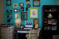Turquoise frame wall. My office. Yup, I pinned myself, after someone pinned me. (and now i'm gonna pin you!)