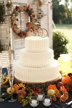 I love this simple, classic cake with the cute little bike on the top!