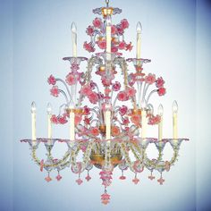 """Cloris"" Murano glass chandelier, hand made by authentic Masters glassblowers…"