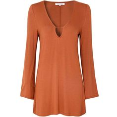 Rust Bell Sleeve Tunic (2.010 RUB) ❤ liked on Polyvore featuring tops, tunics, dresses, orange, bohemian tops, jersey top, orange top, brown tunic and brown jersey