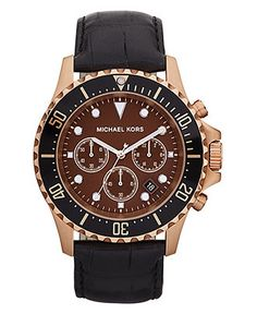 Michael Kors Watch, Men's Chronograph Everest Black Leather Strap 45mm MK8258 - All Watches - Jewelry & Watches - Macy's