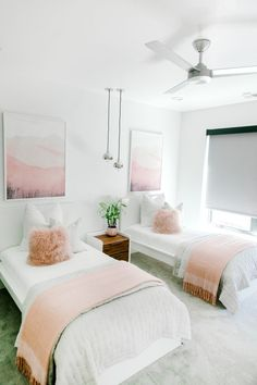 65 Cozy Guest Room Design IdeasYou Have To See Shared Girls Room Cozy Design Guest guestroom IdeasYou room Twin Girl Bedrooms, Sister Bedroom, Teen Girl Rooms, Shared Bedrooms, Little Girl Rooms, Twin Bed Room, Twin Bedroom Ideas, Ikea Girls Room, Bed Rooms