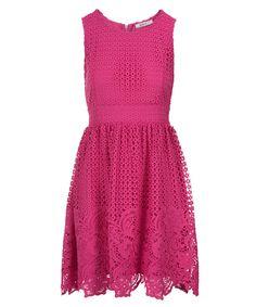 Crochet Lace Overlay Dress, Vibrant Pink #rickis #spring #springfashion #spring2017 #rickisfashion #vibrantpink #pink #colourofthemoment #loverickis