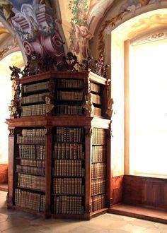 Beautiful Libraries and Bookshops...Library de l'Abbaye Cisctiercienne de Helligenkreuz, Czech Republic, photo by M Miake.