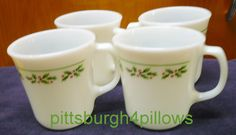4 - Corning - Christmas Holly - Coffee Mugs - EUC - Price Is For All by pittsburgh4pillows on Etsy