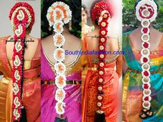 South Indian Floral Bridal Hair Styles – Flowers are an integral part of Indian weddings and a bridal hairstyle would be incomplete without floral adornments. Flowers add a soft touch to Bride Hair Flowers, Indian Wedding Flowers, Flower Garland Wedding, Red Rose Wedding, Wedding Garlands, South Indian Wedding Hairstyles, Bride Hairstyles, Bridal Hair Buns, Flower Braids