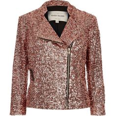 River Island Pink sequin biker jacket ($74) ❤ liked on Polyvore featuring outerwear, jackets, tall jackets, pink moto jacket, moto jacket, brown jacket and rider jacket