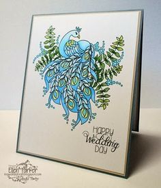 Beautifully colored handmade peacock wedding card created by Ellen Parker. Depth is added to this card via the coloring. #Peacock, #PeacockCard, #HandmadePeacockCard, #PeacockWeddingCard, #BluePeacock, #BluePeacockCard, #HandmadeCard, #HomemadeCard, #HandcraftedCard, #Card, #CardIdea, #Wedding, #WeddingCard, #HandmadeWeddingCard, #Marriage, #MarriageCard, #CardForWedding, #HandmadeCardForWedding, #CardForMarriage