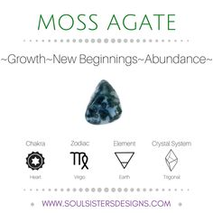 Metaphysical Healing Properties of Moss Agate, including associated Chakra, Zodiac and Element, along with Crystal System/Lattice to assist you in setting up a Crystal Grid. Go to https:/stoulsistersdesigns.com to learn more!