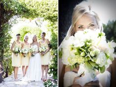 Creamy yellow bridesmaids.