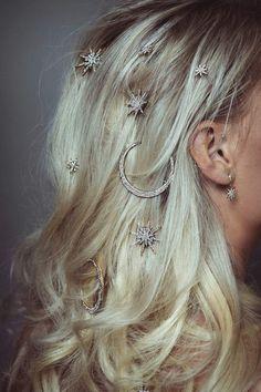Andromeda Star & Moon Pins – Flourish by Victoria Percival Pretty Hairstyles, Wedding Hairstyles, Hair Jewels, Hair Jewellery, Star Hair, Wedding Hair Accessories, Wedding Hair Jewelry, Wedding Jewelry, Dream Hair