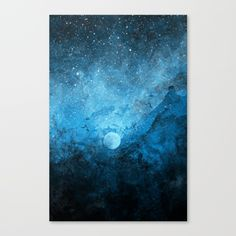 An abstract painting of the night sky surrounding our moon in a burst of stardust and blue paint.