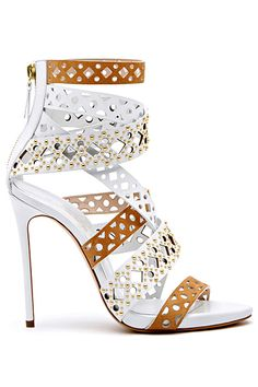 Casadei White & Brown Ankle High Cut-Out Sandal Spring Summer 2014 #Shoes #Heels