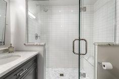 Clean and crisp bathroom by @grayscale.design! #subwaytile #herringbone #marble #mosaic #walltilewednesday #crisp #luxe #modern #guestbathroom #bathroomdesign #white #stacked #clean #interiordesign #homedecor #houzz #architecture #hgtv #tileaddiction #ihavethisthingwithtiles  #natural #stone #tilehighclub #yearofthetile #tilebar #tiles by tilebar