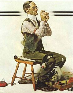 """""""Man Threading A Needle"""" . by Norman Rockwell - Saturday Evening Post Cover April 1922 Norman Rockwell Prints, Norman Rockwell Paintings, Images Vintage, Vintage Art, Peintures Norman Rockwell, Illustrations, Illustration Art, The Saturdays, Art Quotidien"""