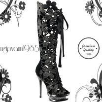 """Walk in the footsteps of fantasy! These open toe lace up knee boots feature a back zipper, rhinestone embellishment and a floral pattern. It even has a unique 1.5"""" dual platform.   Heel Height: 5 1/2""""  Front Height: 1 1/2""""  Shaft Height: 17"""" (Size 8)   Fit: True to Size  Upper: Suede  ..."""