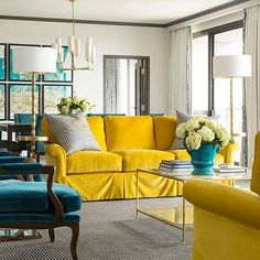 Tobi Fairley - living rooms - canary yellow velvet sofa rolled-arm | peacock blue chairs, peacock blue...