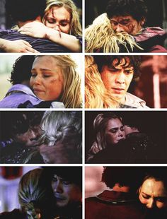 Bellamy looks either right at home or terrified that he's going to lose his home(Clarke)