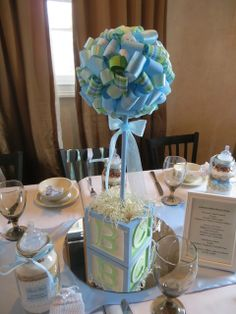 Lovely tablescape at a Blue and Green Baby Shower!  See more party ideas at CatchMyParty.com!  #partyideas #babyshower