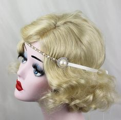 This headband is made from a row of crystal and pearls with a pearl in a silver and rhinestone setting on either side. It ties right on with Silver Headband, Crystal Headband, Pearl Headband, Pearl Hair, Flapper Costume, Ribbon Colors, Bridal Headpieces, Hair Accessory, Wedding Stuff