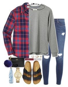 """""""Untitled #271"""" by valerienwashington ❤ liked on Polyvore featuring Frame Denim, L.L.Bean, J.Crew, Birkenstock, Kate Spade, Honora, Coach, New Directions and S'well"""