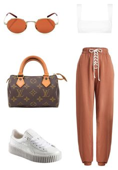 """""""Untitled #1450"""" by villarsantacreu ❤ liked on Polyvore featuring Puma, FELLA, Oliver Peoples and Louis Vuitton"""