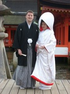 Bride and Groom in traditional Japanese wedding dress