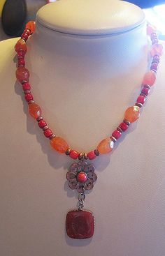 Carnelian and Red Coral Copper and Intaglio Necklace Black Friday Cyber Monday Sale etsy