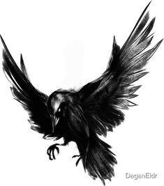 A simple, lone raven. Drawn using Krita. Evil Tattoos, Time Tattoos, Wolf Tattoos, Leg Tattoos, Body Art Tattoos, Tatoos, Celtic Raven Tattoo, Celtic Tree Tattoos, Norse Tattoo