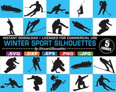 Licensed for COMMERCIAL USE - 14 Winter Sport Silhouette Cutting Files / Clip Art Images - 5 Formats - svg, dxf, jpg, png, eps
