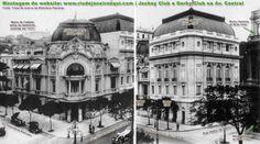 """Acima os edifícios do Jockey Club Derby Club, que fizeram parte da primeira geração edifício da Avenida Central, atualmente chamada de Av. Rio Branco no Rio de Janeiro. Ambos os edifícios foram demolidos e deram lugar à um alto """"arranha céu""""."""