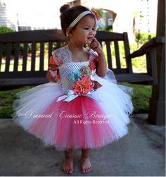 Vintage style coral, aqua, and burlap flower girl tutu dress
