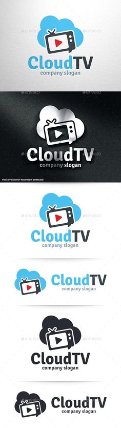 Cloud TV Logo Template #vector #logo #design #cloud #tv #channel #podcast #youtube #play #television #stream #streaming #buy #sale #graphicriver #envato #premium #stocklogo