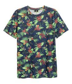 Cotton T-shirt | Dark blue/floral | Men | H&M US