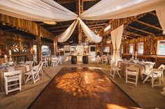 Wedding at Legacy Farm's Heritage Hall! Love the white draping
