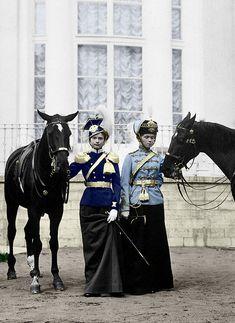 Tatiana Nikolaevna and Olga Nikolaevna, Grand Duchesses of Russia, in the uniform of their patronized regiments, c.1911