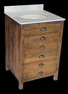 24-1-Door-Chest-Bathroom-Vanity-Sink-Cabinet-Reclaimed-Pine-w-White-Marble