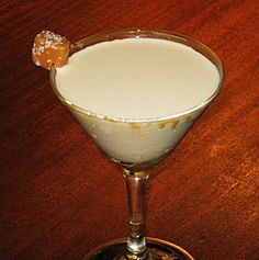 Salted Caramel Martini (2 oz. Pinnacle Salted Caramel Vodka 2 oz. Baileys Creme Caramel 2 oz. Half & Half 1 Tbs Caramel Sauce 1 Caramel square  Pinch of coarse salt)