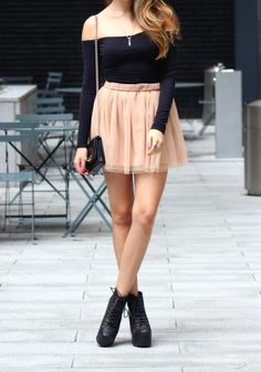 cute tulle skirt fall outfit with jeffrey campbell litas