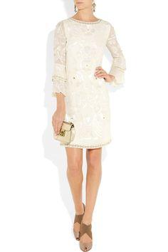 Poppy Embellished Silk-Georgette Shift Dress