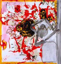 """Yellow Rose,"" by Charline von Heyl 2007 acrylic and oil on canvas 82 x 78 inches"