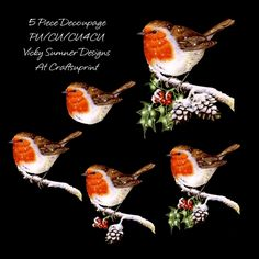 Little Robin Red Breast Decoupage 2 by Vicky Sumner 5 pieces 150 dpi PNG Each piece is seperate PU/CU/CU4CU TOU included in the file: 5…