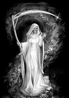 Female Grim Reaper, Grim Reaper Art, Grim Reaper Tattoo, Death Reaper, Don't Fear The Reaper, La Santa Muerte Tattoo, Angel Of Death Tattoo, Reaper Drawing, Illustration Fantasy