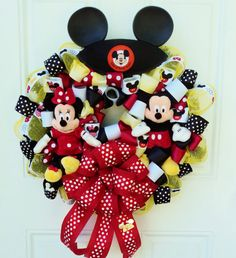 oh so many options Disney Ribbon Wreath Micky and Minnie Mouse Red Yellow White Black Mickey Mouse Wreath, Disney Wreath, Mickey Minnie Mouse, Easter Wreaths, Christmas Wreaths, Christmas Decorations, Tie Crafts, Dollar Tree Decor, Wreaths